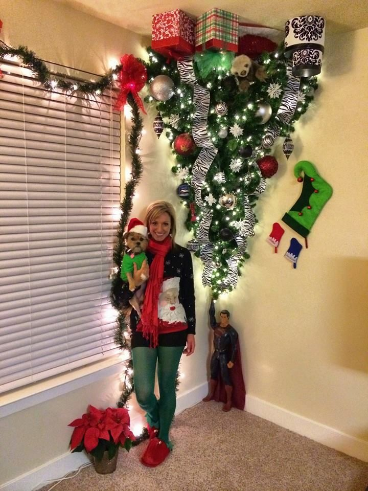 Upside-down Christmas tree that Superman is holding. Awesome! Big props and kudos to Trista!! #loveit