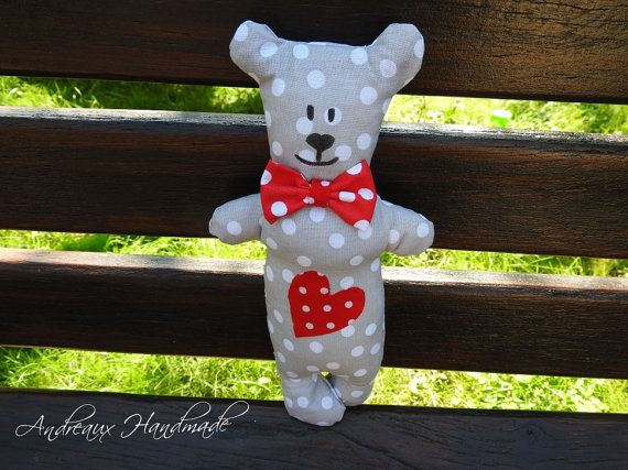 Sewn lavender teddy bear by AndreauxHandmade on Etsy