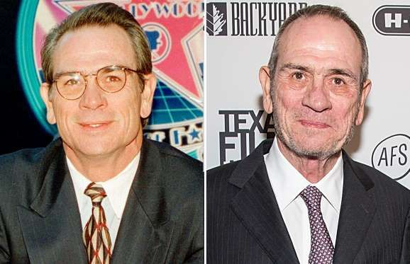 Tommy Lee Jones (1994 and 2015) - Nick Ut/AP Photo; Rick Kern/Getty Images for Austin Film Society