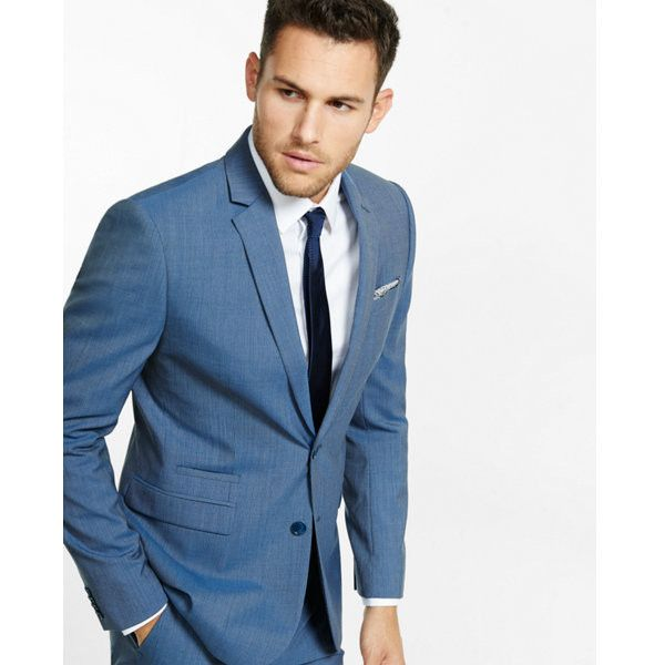 Express Slim Photographer Micro Stripe Wool Suit Jacket ($298) ❤ liked on Polyvore featuring men's fashion, men's clothing, men's suits, blue, mens fitted suits, mens tailored suits, men's apparel, express mens clothing and mens slim suits
