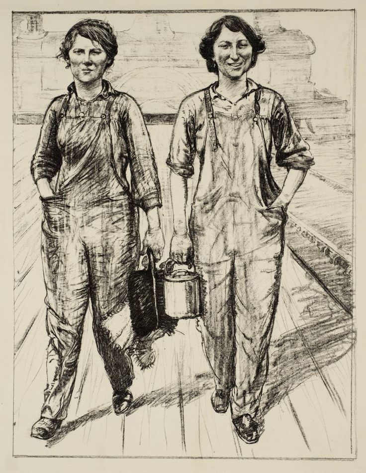 Archibald Standish Hartrick, 'Women's Work: On the Railway - Engine and Carriage Cleaners' c.1917 (Tate)