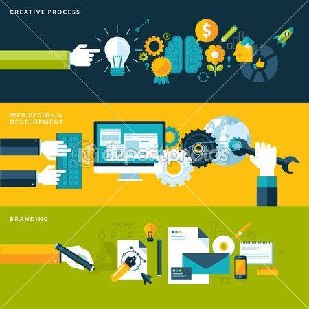 Плоский дизайн векторные иллюстрации понятий для творческого процесса, веб-дизайн & развития и брендинг — стоковая иллюстрация #41224829