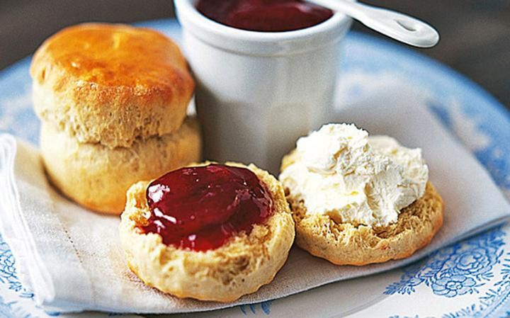Scones with jam and cream Photo: JEAN CAZALES