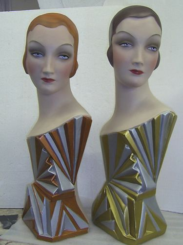 Art Deco Fan girls    Vintage pieces restored by Mannequin Recovery Co. studio