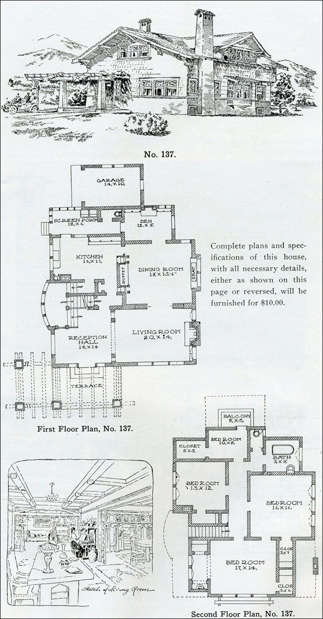amazing swiss chalet plans #9: California Swiss Chalet Bungalow - The Bungalow Book - Wilson 1910 - Houses  - Attached Garage