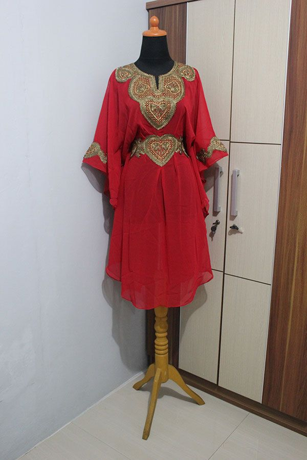 Tunic Caftan Moroccan Red Chiffon Party Maxi Dress Embroidery Gold Abaya #Handmade #TunicKaftan #Christmas