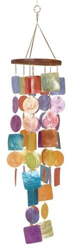 Contemporary Wooden Wind Chime with Multicolored Round and Square Capiz Accents | eBay