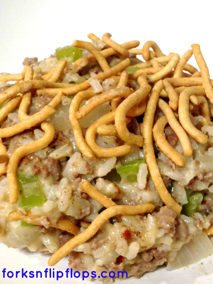 Chow Mein Hamburger Hot Dish  This is a classic hearty Minnesota Casserole aka Hot Dish. So yummy!