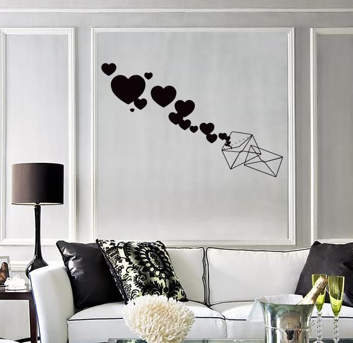 Wall Stickers Vinyl Love Envelope Love Message Romantic Decor (z1681)
