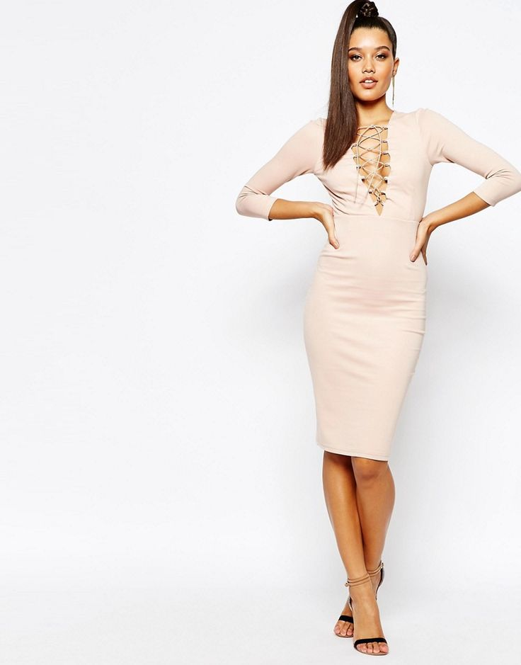 Image 4 of Naanaa Lace Up Front Midi Bodycon Dress With 3/4 Sleeve