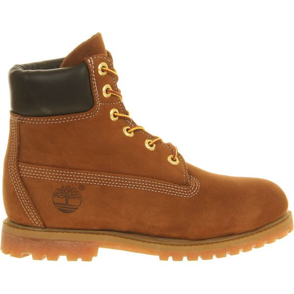 Timberland Premium 6 Boot ($205) ❤ liked on Polyvore featuring shoes, boots, timberland, rust nubuck, rugged shoes, waterproof shoes, traction shoes, timberland shoes and waterproof footwear