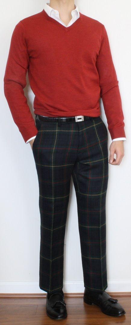 Christmas Red V Neck and Blackwatch variation wool slacks