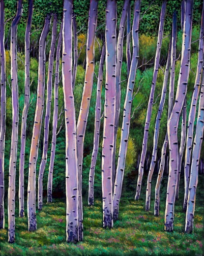 """Aspen Enclave"" acrylic landscape painting of Aspens in Colorado by Johnathan Harris."