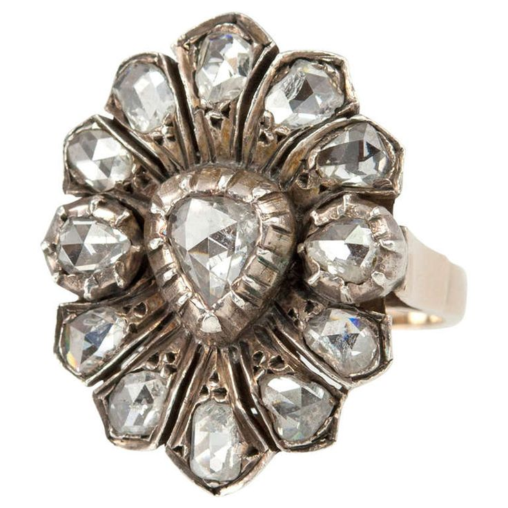 Rose Cut Diamond Victorian Ring | From a unique collection of vintage cluster rings at http://www.1stdibs.com/jewelry/rings/cluster-rings/