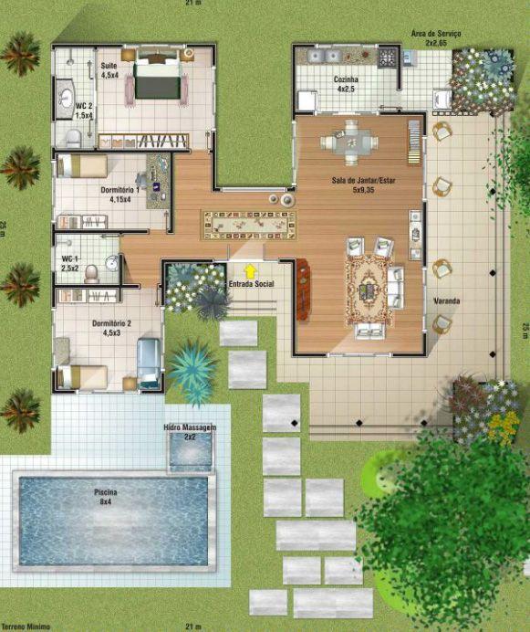 Faria a piscina nos fundos e preservaria o jardim um pouco menor.