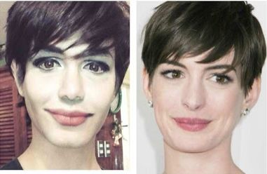 Amazing make-up by Paolo Ballesteros(done on himself)  to look like Anne Hathaway! What an incredible talent.
