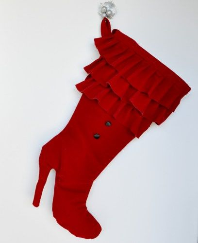 Red high heel boot  Christmas stocking. | zorraindina - Seasonal on ArtFire