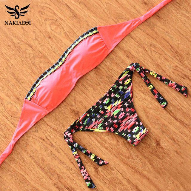 NAKIAEOI 2017 Sexy Handmade Crochet Bandeau Bikini Women Swimwear Push Up Swimsuit Brazilian Bikini Set Beach Bathing Suits Swim