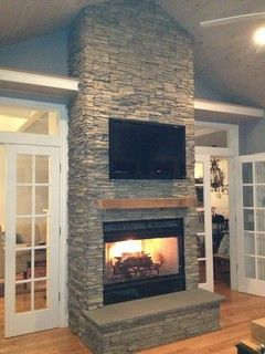 Stacked Stone Fireplace Eldorado Nantucket For The Home