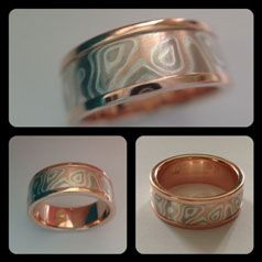 A truly unique ring.  The Mokume Gane technique mixes metals to form one-of-a-kind patterns.  Choose your metal mix and pattern style starting at $500.