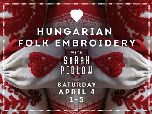"""My next workshop: Learn the basic stitch for Hungarian """"written"""" embroidery and make a drawstring bag!"""
