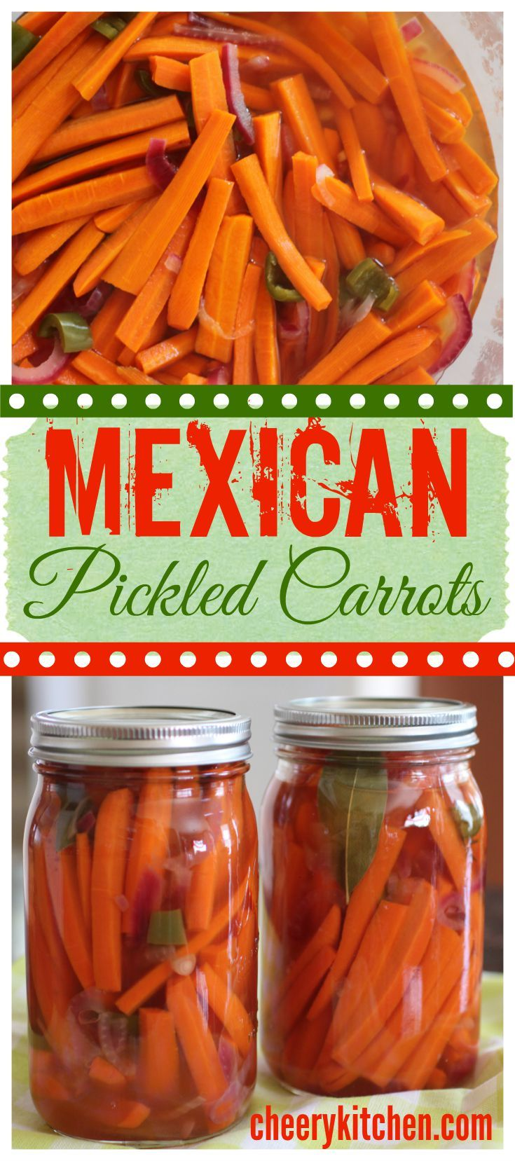 Mexican Pickled Carrots, a perfect no-fat snack.  Make 'em up quick and keep them in the fridge.  Great for Taco Tuesdays too!