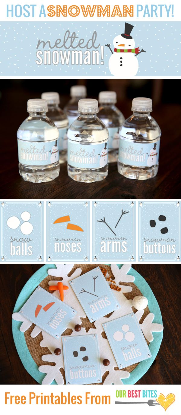 Snowman Party Printables | http://www.ourbestbites.com/wp-content/uploads/2014/01/Snowman-Party-Printables_Our-Best-Bites.pdf