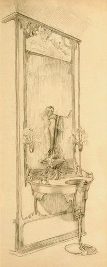 Alphonse Mucha - Interior of Boutique Fouquet: design for a wall-mounted display cabinet with statuette and mirror (c.1900)