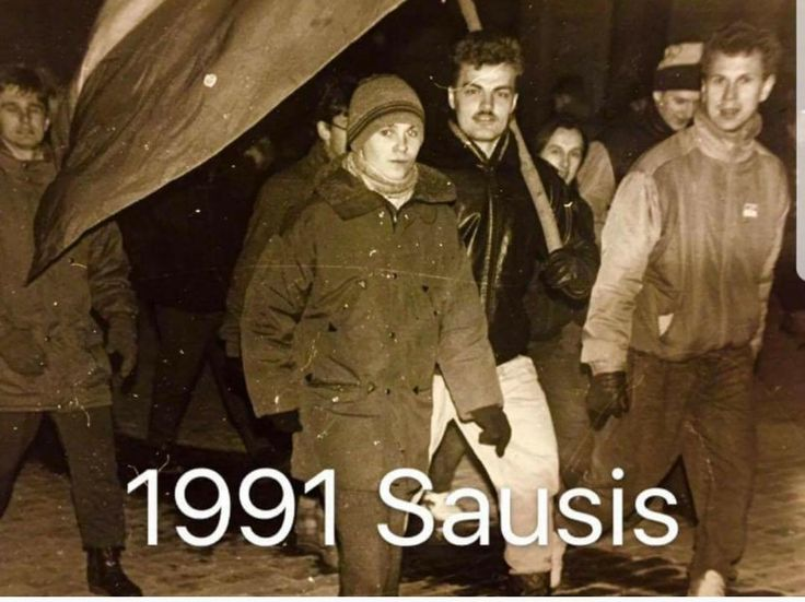 My Dad (holding flag) protesting against Soviet occupation in Lithuania 1991