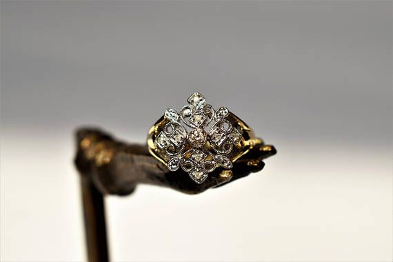 UNIQUE Victorian Revival Diamond Engagement Ring Victorian