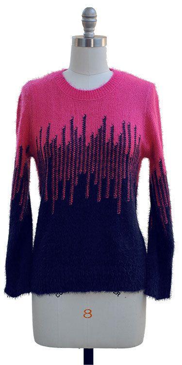 Eyelash Sweater Navy Hot Pink Womens Size S New  | eBay