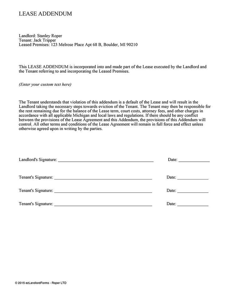 lease addendum template