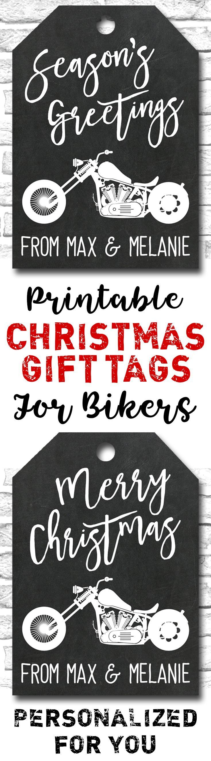 Printable Motorcycle Christmas Gift Tags For Bikers And Harley Davidson Riders - Personalized For You.https://www.etsy.com/ca/listing/481856864/printable-motorcycle-christmas-gift-tags