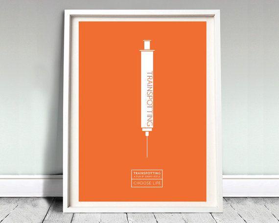 """TRAINSPOTTING - affiche de film : 12 x 16"""" art, impression, film, affiches typographiques, trainspotting minime, publicité affiche, Britannique, choisir la vie"""
