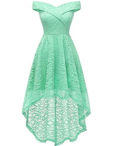 Homrain Women's Off Shoulder Hi-Lo Floral Lace Dress Vintage Elegant Cocktail Pa…