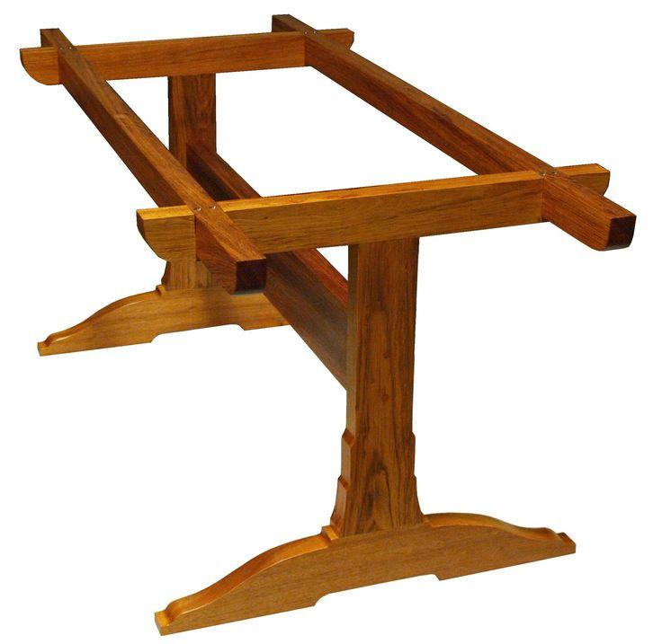 Best 25 trestle tables ideas on pinterest farm style for Post trestle farm table plans