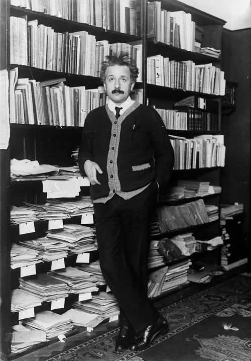 Professor Albert Einstein (1879 - 1955), mathematical physicist at home in 1925.