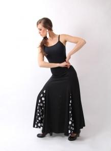 Falda godet 4 W sra F115  Falda de baile flamenco, con cuatro godet combinado en punto de seda y crespón,disponible tambien en punto de seda toda negra,es ideal para academia.