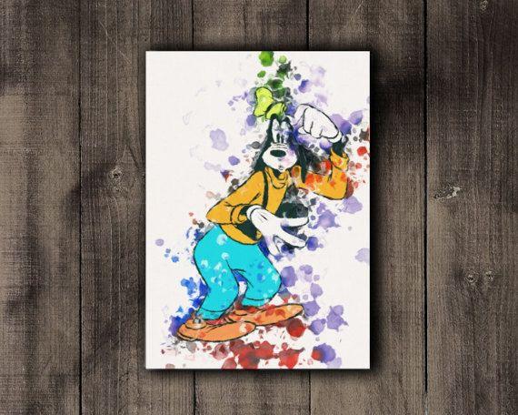 Goofy Printable Disney Goofy Watercolor Print by CoffeeLoffe