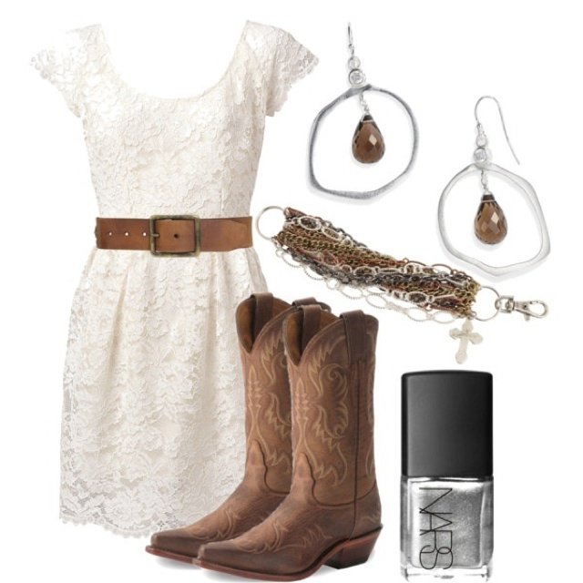 White Lace With Cowboy Boots So Cute Outfits Pinterest