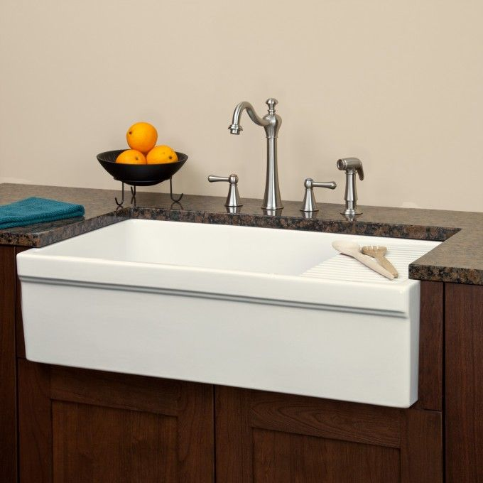 36 Aulani Single Bowl Italian Fireclay Farmhouse Sink With Drainboard Sinks Kitchen Cocinas Y Banos Pinterest