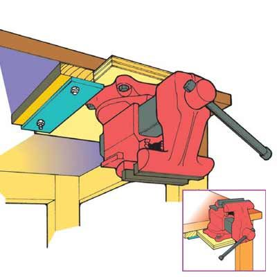 Bench-Top Tool Storage Tip Build this slide-in base and mount the vise or tool on it so the entire unit can slide back in upside down and out of the way. Countersink holes into the underside of the base so you can recess the mounting nuts and washers.