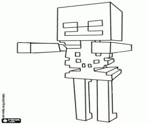 skeleton hostile creature from minecraft coloring page