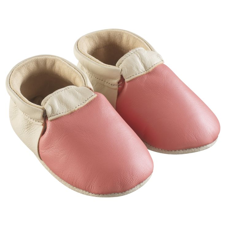 Corail et beige > http://www.tichoups.fr/chausson-cuir-souple-sans-motif/chaussons-bebe-cuir-souple-ticolo-corail-beige.html