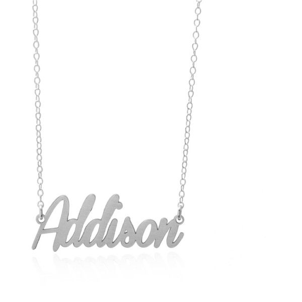 Dainty Name Necklace, Tiny Name Necklace, Any Name Necklace, Sterling... ($65) ❤ liked on Polyvore featuring jewelry, necklaces, sterling silver jewelry, sterling silver necklace and sterling silver jewellery