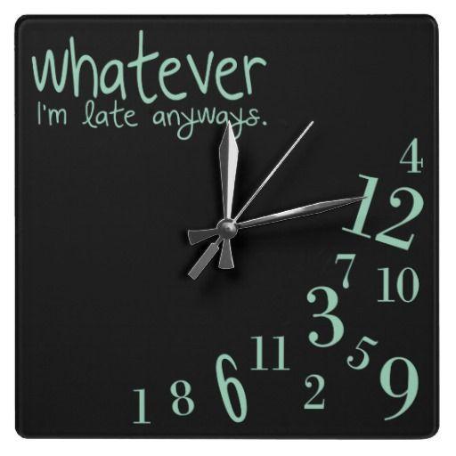 whatever - mint on black wall clock