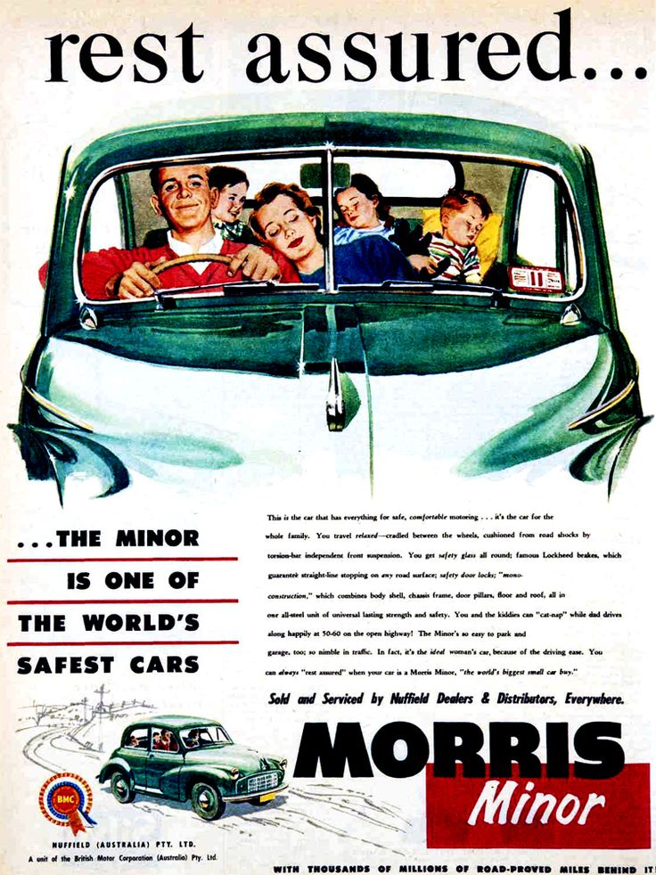 The Morris Minor Is One Of The Worlds Safest Cars (Poster).  v@e.