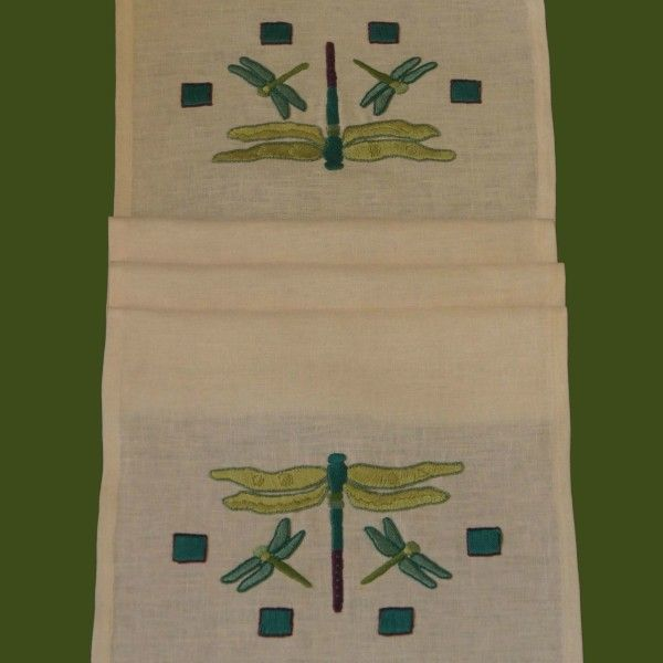 Craftsman Style Textiles, Hand Embroidery, Arts & Crafts Style, Dragonfly Table Runner,Folded