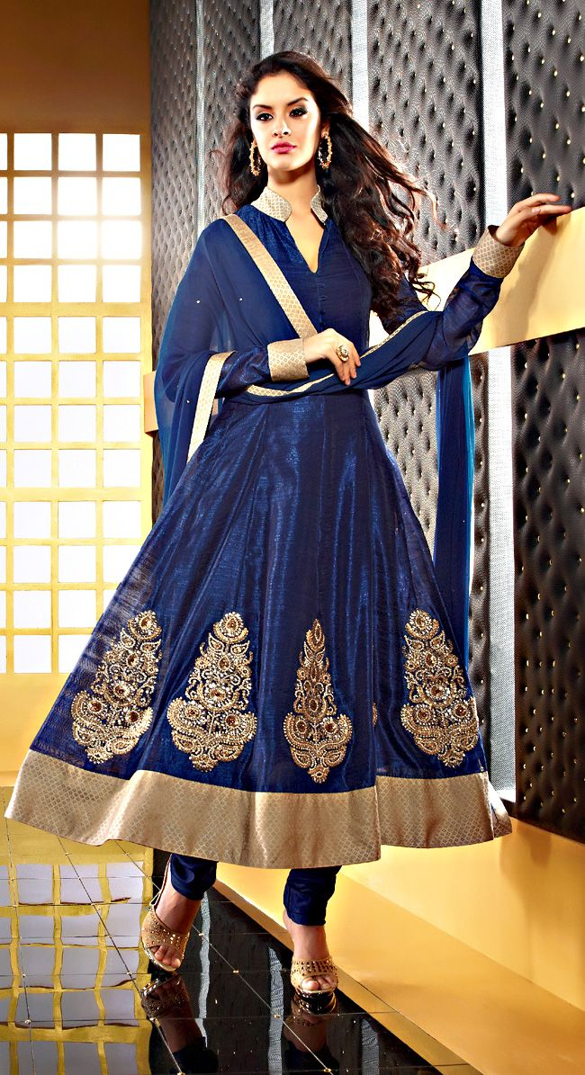 """Neavy Blue Color Faux Chiffon Resham And Embrodried Work Salwar Suit  Item Code: SLRC2109  PRICE;- 4185/- INR  Style: Salwar suit sleeve style: Sleeveless, Long Sleeve (18"""" to 21"""") size: 38"""", 32"""", 36"""", 34"""", 42"""", 40"""" occasion: Party, Wedding, Festival fabric: Faux Chiffon color: Blue Catalog No.: 1150 work: Embroidered, Resham , Zari  SHOP THIS SUIT FROM HERE http://www.vivaahsurat.com/salwar-kameez/neavy-blue-color-faux-chiffon-resham-and-embrodried-work-salwar-suit-slrc2109"""