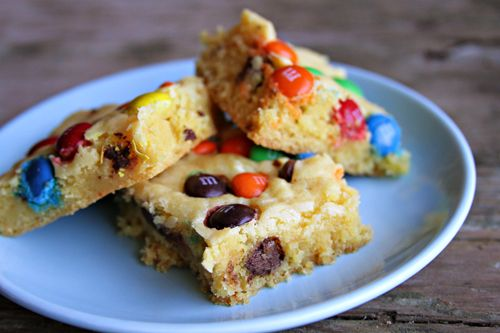 Super Easy M & M cookie bars made with cake mix & pudding.